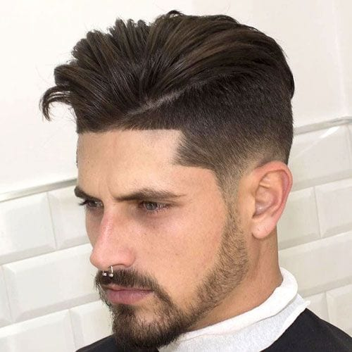 Dapper Parted Faux Hawk with Fade