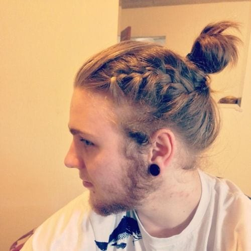 braided ponytail long hairstyles for men