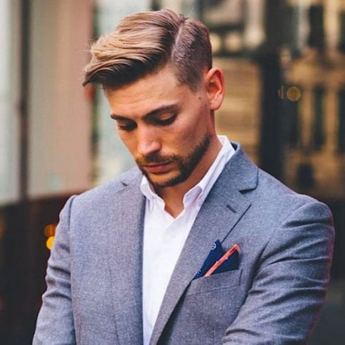 Classy flat pomp with side part