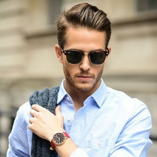 Hipster gelled backbrush hairstyle for men - business casual hairstyle