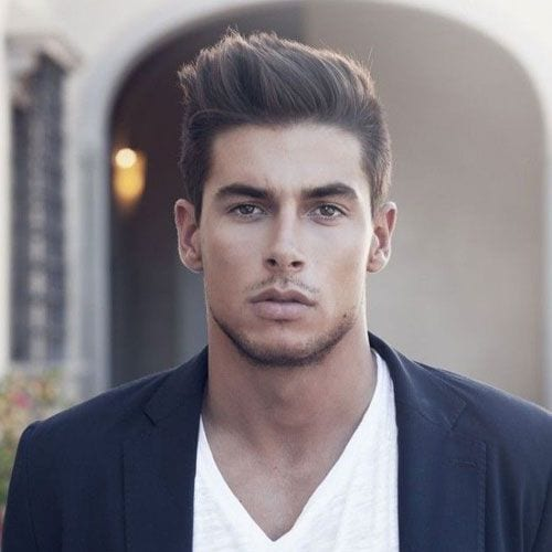 Sharp and Angled Pomp Short Sides Long Top Hairstyles