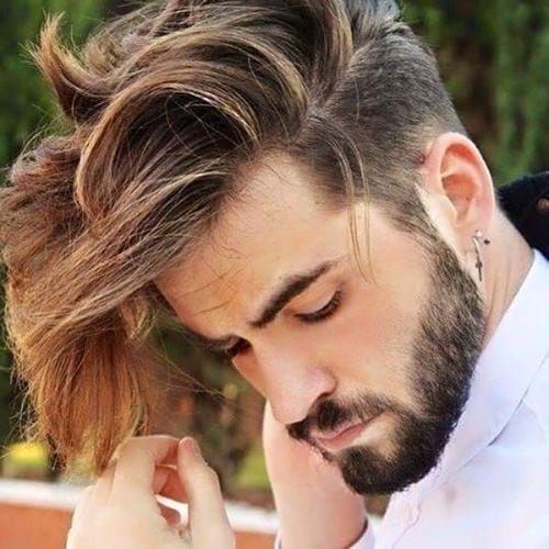 parted long long hairstyles for men
