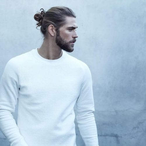 blond ponytail long hairstyles for men