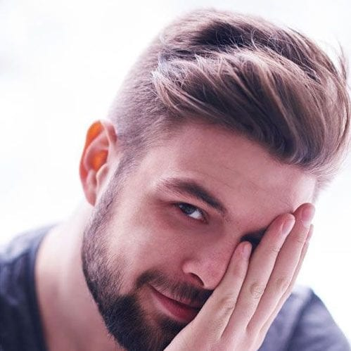 Soft pushed up bangs - classic hairstyle for men