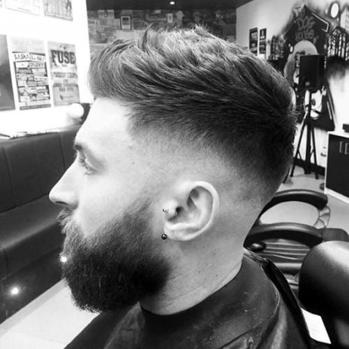 Deep back skin fade hairstyle
