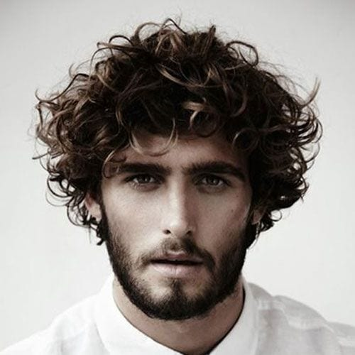 textured curly medium length hairstyles for men