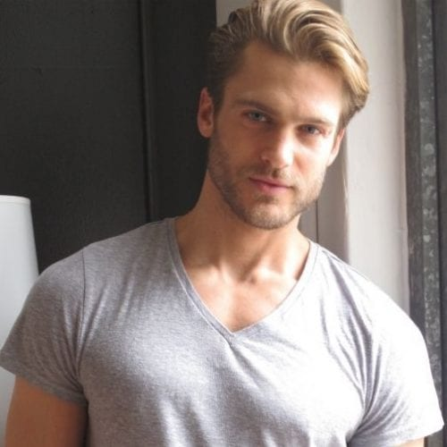 casual brushed back straight medium length hairstyles for men
