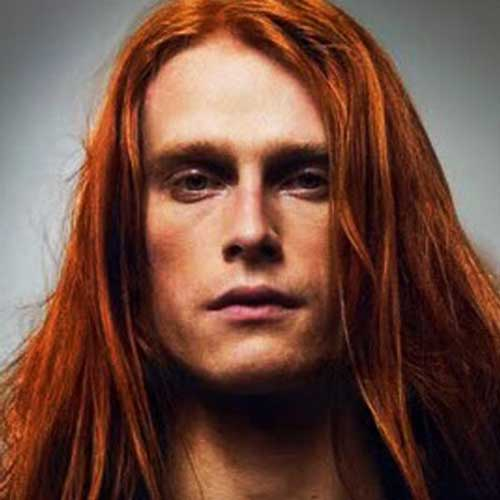 straight red long hairstyles for men