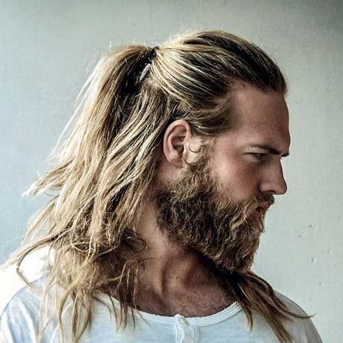 blond pony tail long hairstyles for men