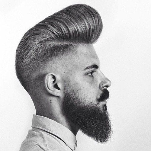 classic and faded pomp hairstyles for men