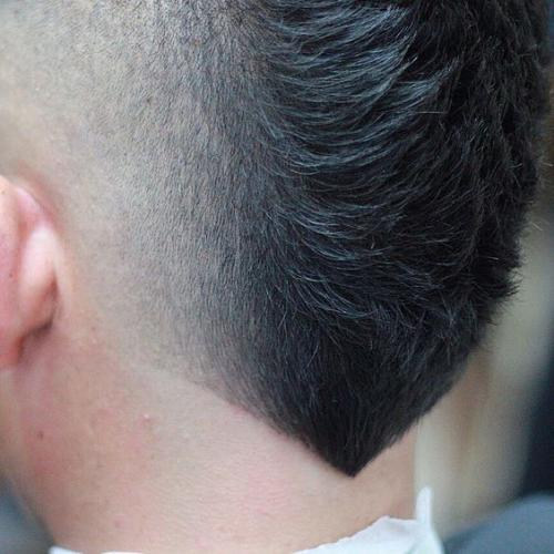 closeup on V-shaped neckline fade