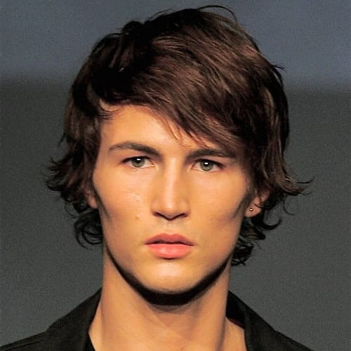 side parted layers medium length hairstyles for men