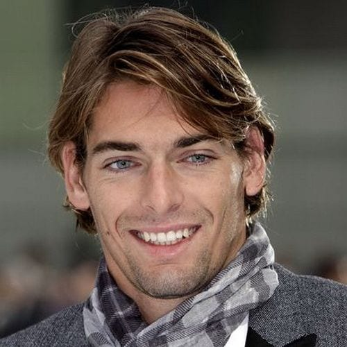 highlighted medium length hairstyles for men