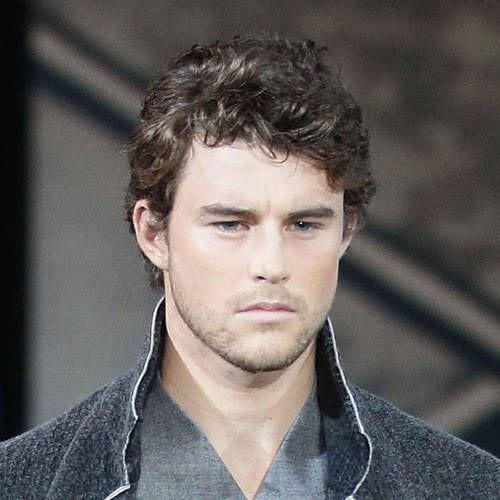 neat curly medium length hairstyles for men