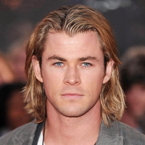 straight center parted medium length hairstyles for men