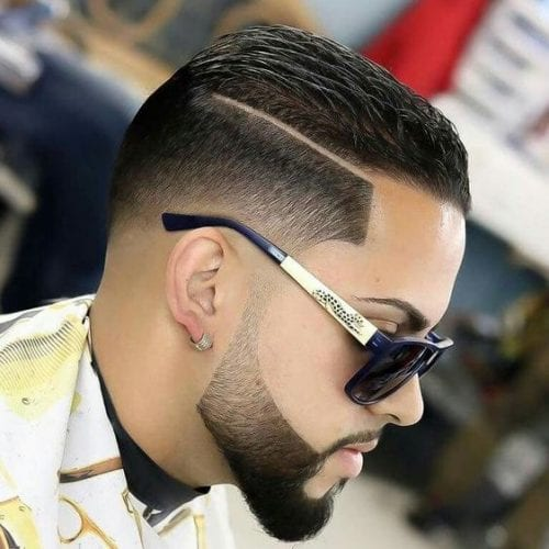 edgy layered pomp fade