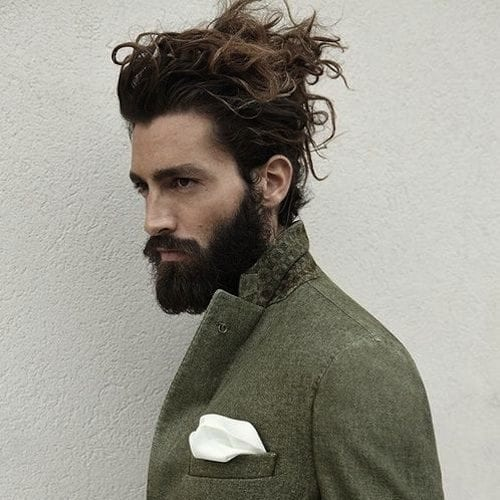bedhead bun long hairstyles for men