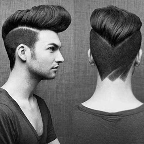 classic edged pomp hairstyles for men