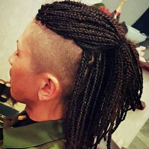 Mohawk Hairstyles for Men with Box Braids