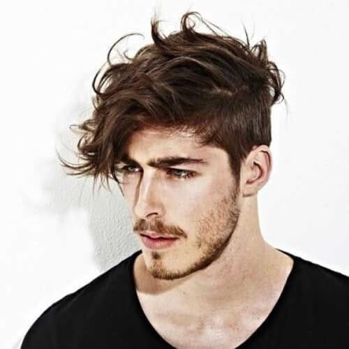 Asymmetrical Hairstyle for Men with Wavy Hair