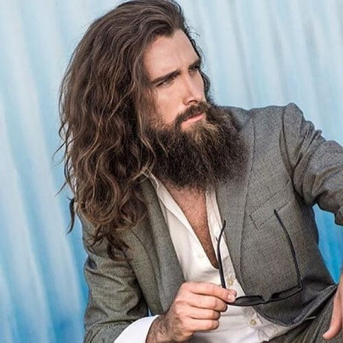 Long Wavy Hair and Rugged Beard