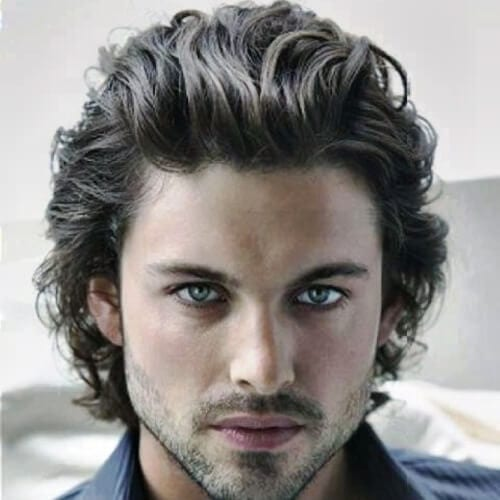 Swept Back Hairstyle for Wavy Hair Men