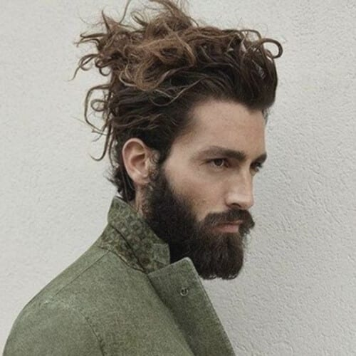 Updo Hairstyles for Men with Long Wavy Hair