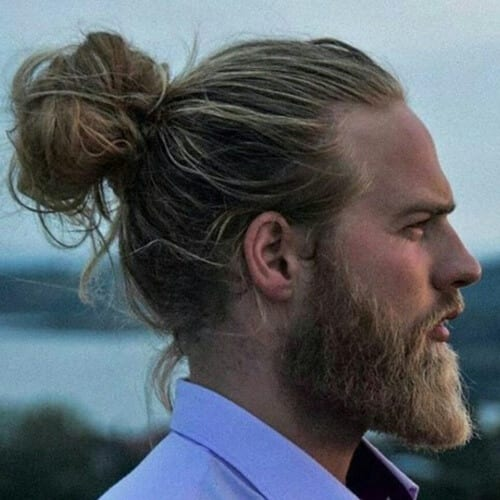 Wavy Man Bun Hairstyle