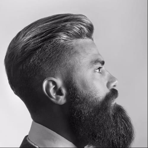 Undercut and pompadour + long beard