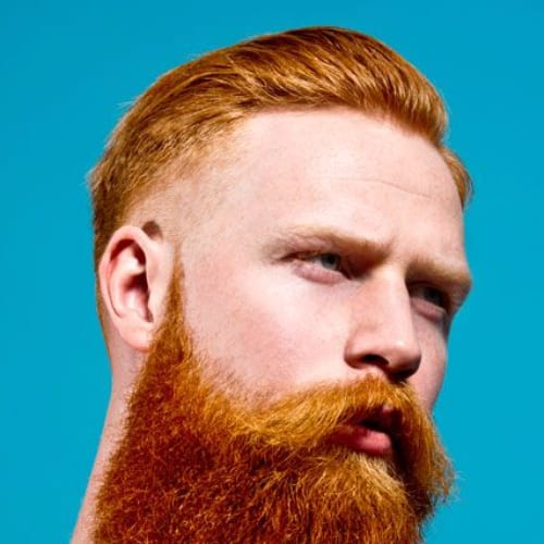Medium Fade with Comb Over and Beard - Hairstyles for Ginger Hair Men