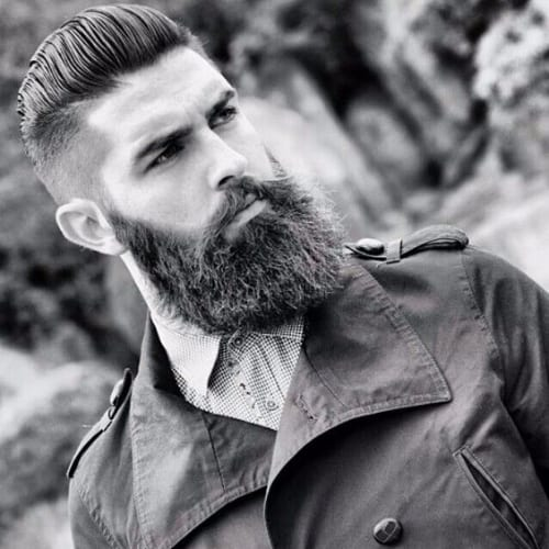 Comb Over Hairstyles for Men - Faded Comb Over with Beard