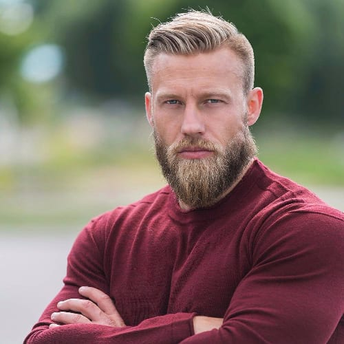 Classic Ivy League Hairstyle For Men - Blonde Hair and Beard