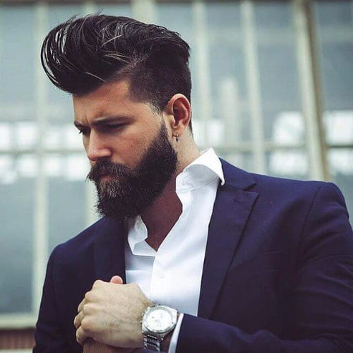 Voluminous Pompadour + Shaved Parts + Comb Over