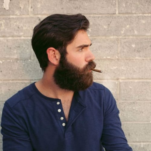 Medium Length Comb Over Hairstyle + Beard