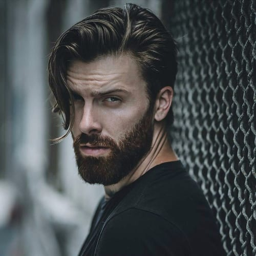 Medium Length Side Part With Beard + Comb Over