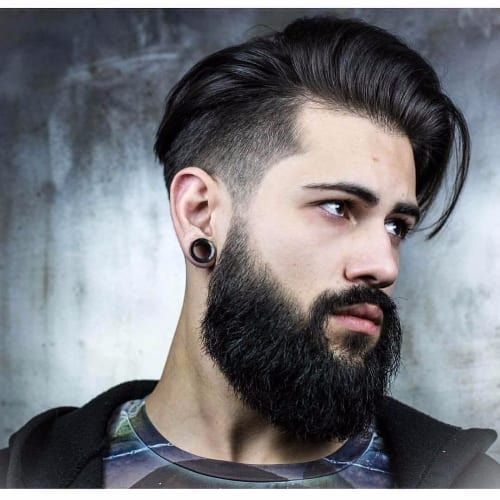 Voluminous Pompadour + Temp Fade + Beard + Dark Hair