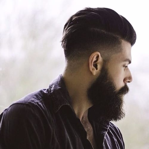 Slick Back Comb Over + Dark Long Beard