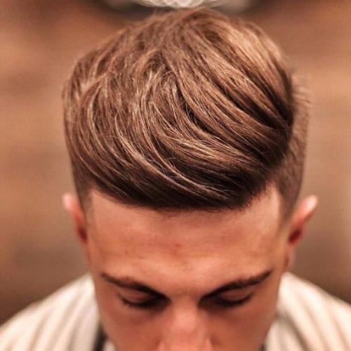 Side Parted Flat Top Pompadour