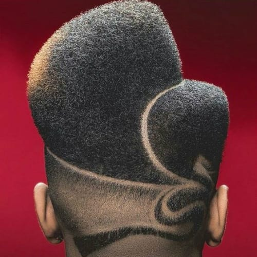 Afro Natural Flat Top Haircut with Hair Designs