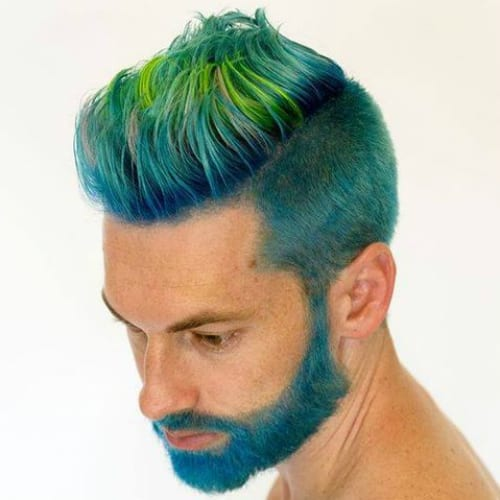 Color Mix Shaved Sides Hairstyles Men Fashion