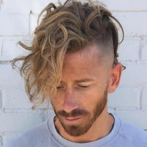 Long Curly Top Shaved Sides Hairstyles Men