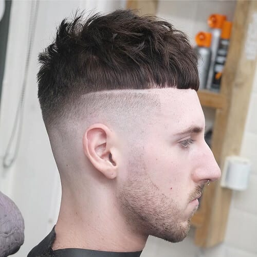 Caesar Haircut with Hard Part