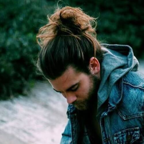 Man Bun with Receding Hairline
