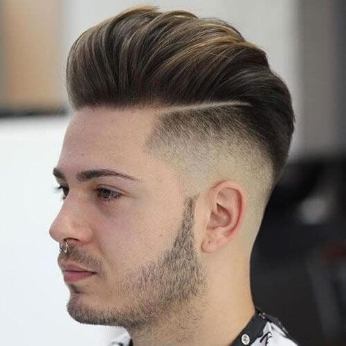 Pompadour Hard Part Haircut