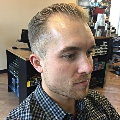 Slicked Back Hairstyle with Receding Hairstyle