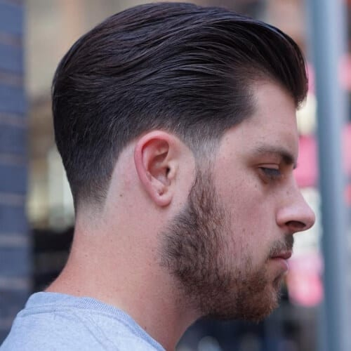 Charming Slicked Back Taper Fade Haircut