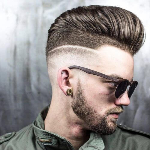Pompadour Haircut with Shave Contrasts