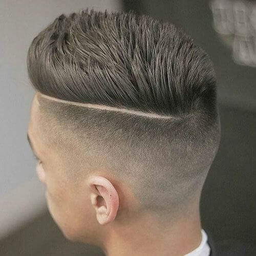 Pompadour Haircut with Side Part Undercut