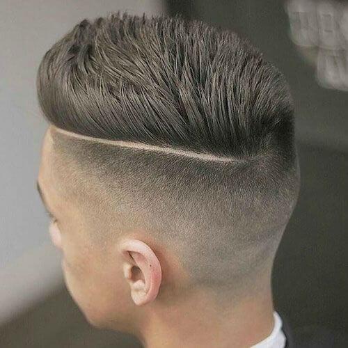 Pompadour Haircut with Side Part Undercut