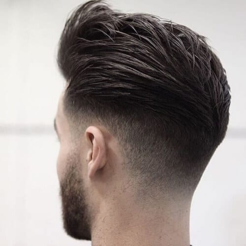 Pompadour Haircut with V-shaped Undercut